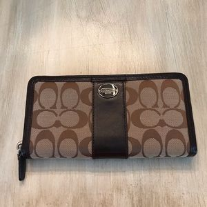 Authentic Coach Wallet cloth material with leather